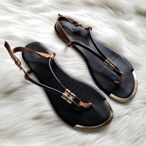 Mossimo Brown, Black, & Gold Strappy Sandals